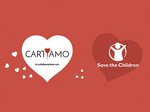 logo save the children e cartiamo
